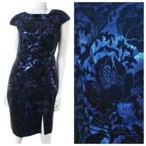 Eva Franco Anthropologie Sheath Dress Black Blue